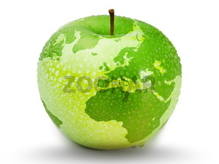 Green apple representing earth with drops on it