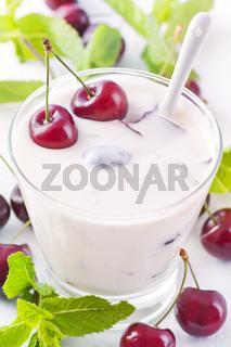 Cherry yoghurt in glass
