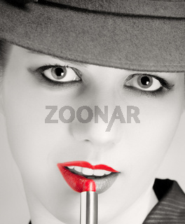 Portrait of stylish woman with bright red lips
