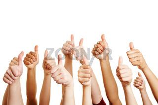 Leute gratulieren und halten viele Daumen hoch