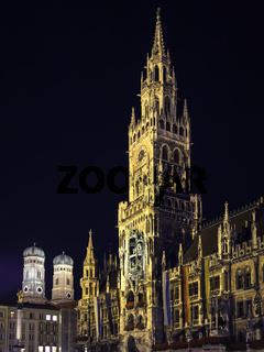 Night scene Munich Town Hall