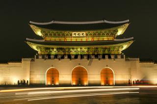 Gwanghwamun gate of Gyeongbokgung palace in seoul south korea at night