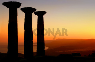 Temple Of Athena Silhouette At Sunset