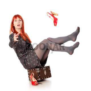 Extravagant Woman With Suitcase Falling