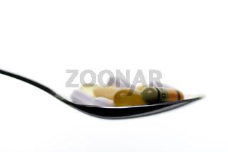 Löffel mit Tabletten