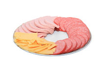sausage in plate on white background