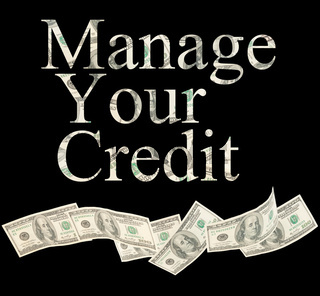 Manage your credit, isolated words with American notes