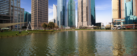 lake and modern city