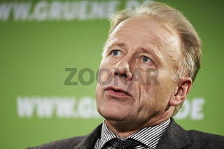Top candidate for the election, Juergen Trittin (GREEN), gives a press conference.