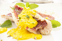 red mullet with saffron sauce