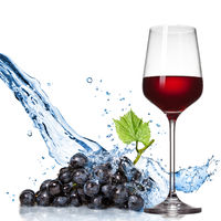 Glass of wine with blue grape and water splash isolated on white