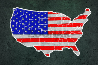America map with flag draw on grunge blackboard