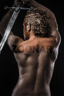 Warrior with sword, Dream, Anger, Dreaming, man covered in mud, naked, in profile, dirty skin
