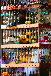 Different types of beautiful colored earrings