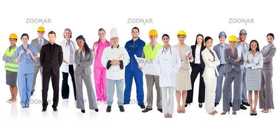 Large diverse group of workers