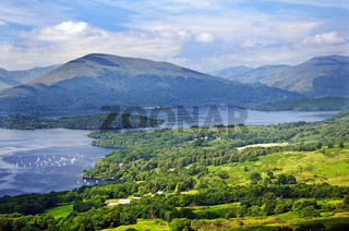 Loch Lomond seen from the hills above the scenic village above the village of Balmaha.