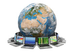 Internet. Global communication. Earth and laptop on white isolated background.  Source of map: http://visibleearth.nasa.gov/view.php?id=73801  NASA Terms of Use  For all non-private uses