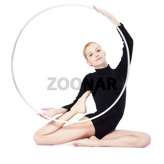 blonde gymnast with hula hoop