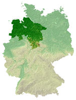 Niedersachsen - topografische Relief Karte DE