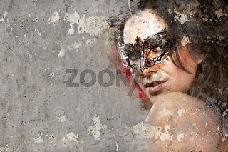 Portrait of beautiful woman over dirty wall with venetian mask
