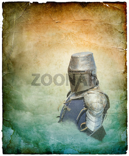 Armored knight in helmet with shield - retro postcard on portrait vintage paper background
