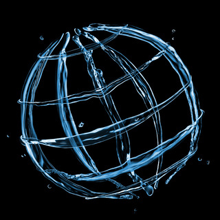 abstract globe from water splashes isolated on black