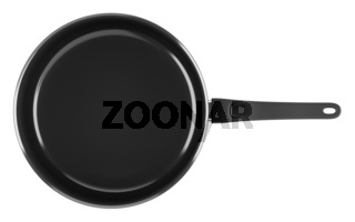 top view of single black cooking pot isolated on white background