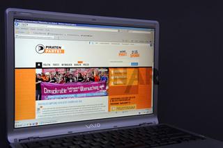 Website, Internetseite, Internetauftritt der Piratenpartei auf B
