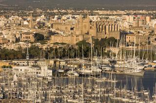 Blick auf den Hafen, Altstadt und Kathedrale, Palma de Mallorca, Spanien
