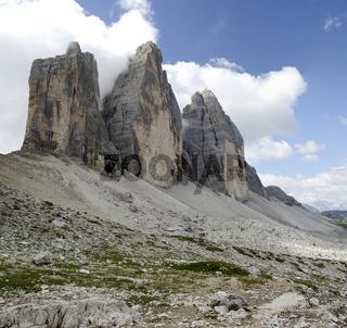 Drei Zinnen gesehen von der Langen Alm Südtirol