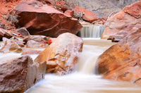 Waterfalls on the Virgin River by Narrows Canyon in Zion National Park