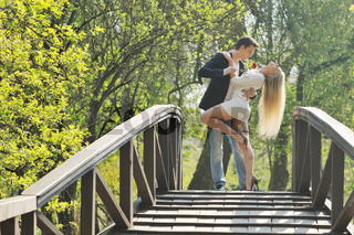 romantic couple in love outdoor