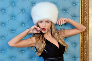 beautiful woman in white fur hat