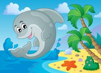 Image with dolphin theme 5 - picture illustration.
