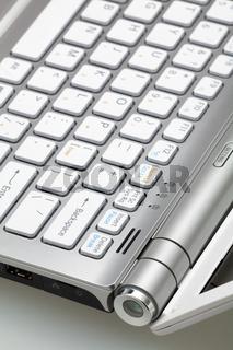 Closeup of silver laptop