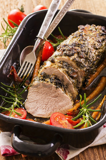 veal roast with vegetable