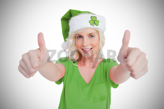 St patricks day girl giving thumbs up