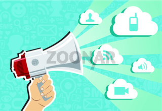 Cloud computing marketing concept.