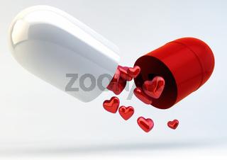 Multiple Hearts inside Capsule Pill - Love Medicine