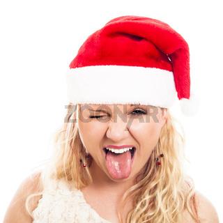 Funny woman in Christmas Santa hat