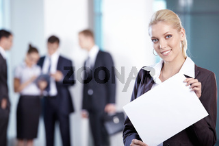 Business woman with a white plate