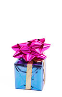 Purple gift box with a bow