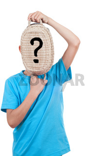 boy playing with a basket