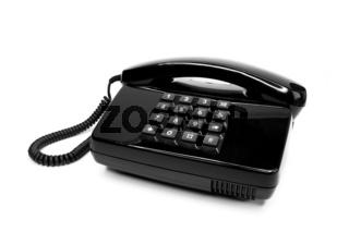 Klassisches schwarzes Telefon aus den Achtzigern