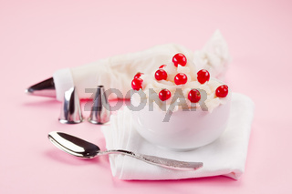 Cream Dessert with currants