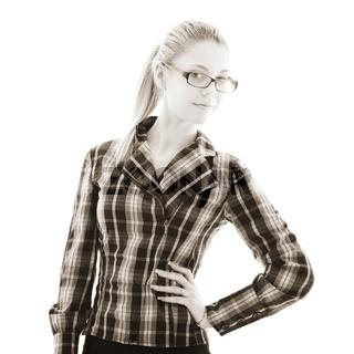 attractive girl looks through glasses. studio shot