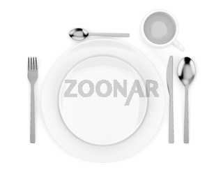 top view of table setting isolated on white background