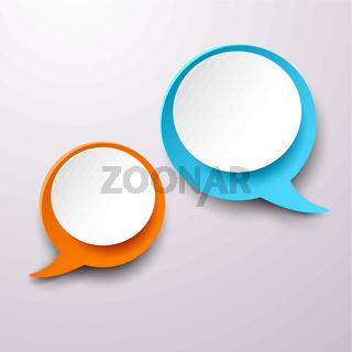 Two Communication Speech Bubble Labels