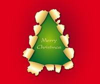 zerissenes Papier in Form eines Weihnachtsbaumes