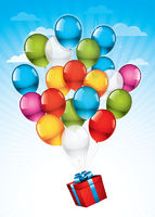 Red gift box and colorful balloons